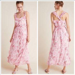 NWT Anthropologie pink Cheryl Ruffled maxi dress